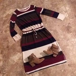 Long sleeve striped midi dress